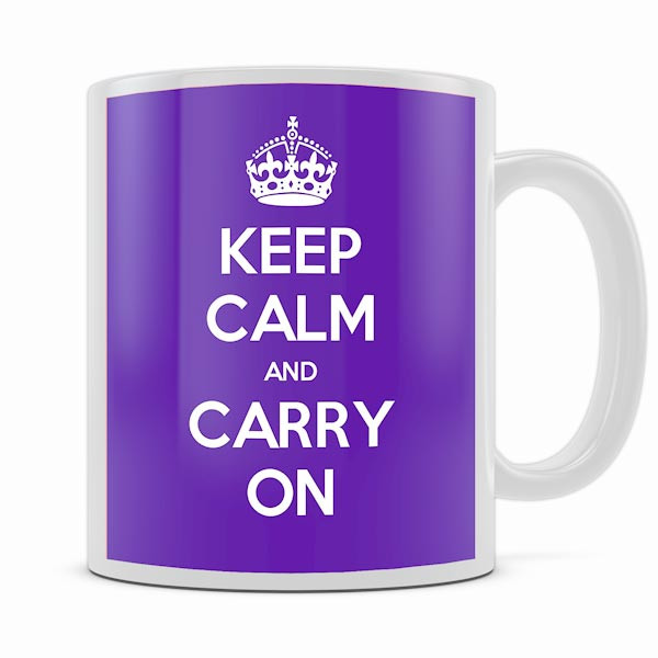 KEEP CALM AND CARRY ON PURPLE MUG