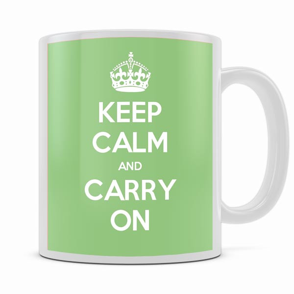 KEEP CALM AND CARRY ON LIGHT GREEN MUG