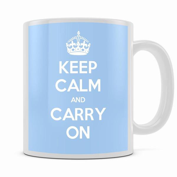 KEEP CALM AND CARRY ON LIGHT BLUE MUG
