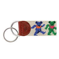 Smathers and Branson Dancing Bears Needlepoint Key Fob - Khaki