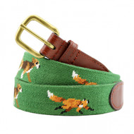 Smathers and Branson Fox and Hound Needlepoint Belt - Dark Forest