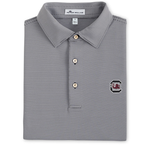 super popular e39b1 3320e Peter Millar University of South Carolina Jubilee Stripe Jersey Polo -  Black (Block C Logo)