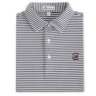 Peter Millar University of South Carolina Competition Stripe Jersey Polo - Iron (Block C Logo)