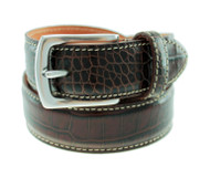 T.B. Phelps El Paso Croco Leather Belt - Briar Brown