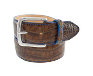 T.B. PhelpsTravis Croc Leather Belt - Briar Brown with Blue Edge