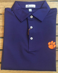 Peter Millar Clemson Jubilee Stripe Performance Polo - Purple