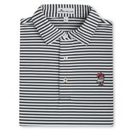 Peter Millar Vault Logo USC Touchown Stripe Mesh Polo - Black