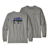 Patagonia Men's Long-Sleeved Fitz Roy Bison Responsibili-Tee® - Gravel Heather