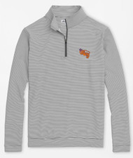 Peter Millar Clemson Vault Perth Mini-Stripe Stretch Loop Terry Quarter-Zip - Iron/White