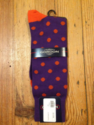 Gordon of New Orleans Team Sock Dot - Purple w/ Orange Dot