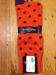 Gordon of New Orleans Team Sock Dot - Orange w/ Purple Dot