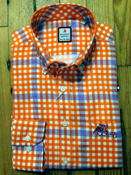 Clemson University Laying Tiger Windowpane Sport Shirt - Orange