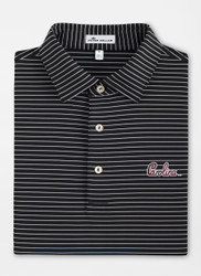 Peter Millar University of South Carolina Script Tuition Stripe Performance Polo - Black