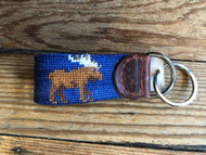 Smathers and Branson Moose Needlepoint Key Fob - Classic Navy