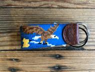 Smathers and Branson Birdie Eagle Needlepoint Key Fob - Blueberry
