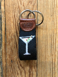 Smathers and Branson Martini Needlepoint Key Fob - Black