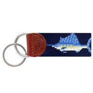 Smathers and Branson Billfish Needlepoint Key Fob - Dark Navy