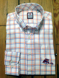 Clemson University Laying Tiger Windowpane Sport Shirt - White