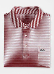 Peter Millar South Carolina Script Major Seaside Stripe Polo with Pocket - Maroon
