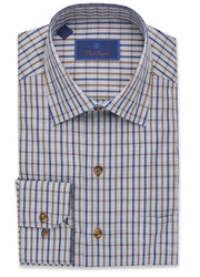 David Donahue Mélange Plaid Basketweave Sport Shirt - Navy/Chocolate