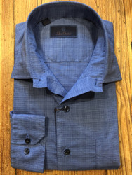 David Donahue Textured Check Sport Shirt - Royal Blue