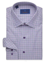 David Donahue Brushed Twill Check Sport Short - Charcoal/Purple