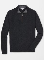 Peter Millar Crown Fleece Suede-Trimmed Quarter-Zip - Smoke