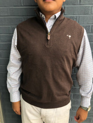 Craig Reagin Heathered 1/4 Zip Vest - Cocoa