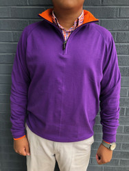 Craig Reagin Zip Mock Pullover - Purple/Orange