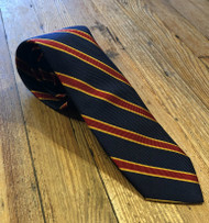 R Hanauer Handmade Heckle Stripes Necktie - Navy