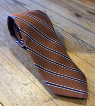 R Hanauer Handmade Atherton Stripes Necktie - Orange