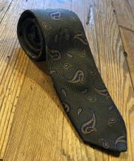 R Hanauer Handmade Collins Paisley Necktie - Green