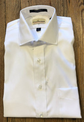 Cotton Brothers Solid Pinpoint Dress Shirt - White