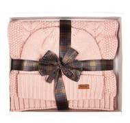 Barbour Cable Knit Hat and Scarf Set - Pink