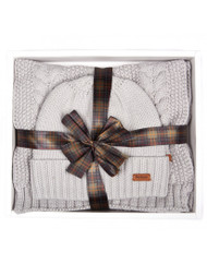 Barbour Cable Knit Hat and Scarf Set - Ice White