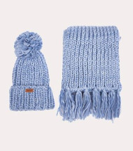 Barbour Women's Chunky Hat and Scarf Set - Pale Blue
