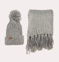 Barbour Women's Chunky Hat and Scarf Set - Grey