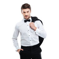 Slim Fit Tuxedo Microfiber Shirt - White