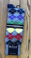 Byford Sock - Multi Argyle on Grey