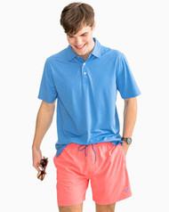 Southern Tide Driver Heathered Preformance Polo Shirt- Cobalt Blue