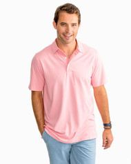 Southern Tide Driver Heathered Preformance Polo Shirt- Guava Pink