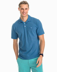 Southern Tide Heather Channel Marker Stripe Polo Shirt - Pompeii Blue