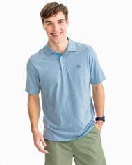 Southern Tide Heather Channel Marker Stripe Polo Shirt - Tsunami Grey