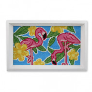 Smathers and Branson Pink Flamingo Valet Tray - White Wood