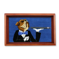 Smathers and Branson Doggy Butler Valet Tray Blue - Chestnut Wood