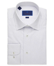 David Donahue Mini Printed Flower Dress Shirt - White/Navy