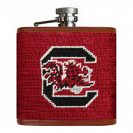 Smathers and Branson Needlepoint Flask -South Carolina (Garnet)