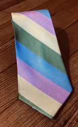 Shore and Singer Wide Stripe Tie - Green/Blue/Pink/Yellow