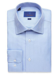 David Donahue Blue Herringbone Dress Shirt - Blue