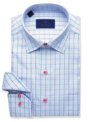 David Donahue Mini Tattersal Basket Weave Sport Shirt - Blue/Berry